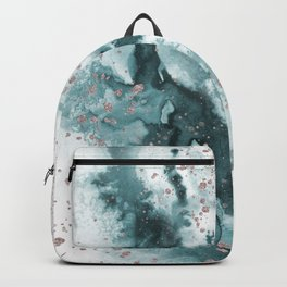 Watercolor meets Glitter  - Turquoise Rose Gold - No 1 Backpack