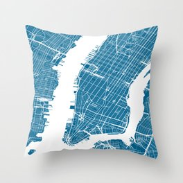 Blue New York City Map Throw Pillow