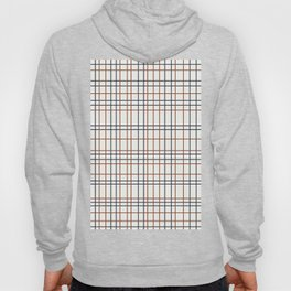 Navy and Rust Grid on light grey (almost white) Hoody