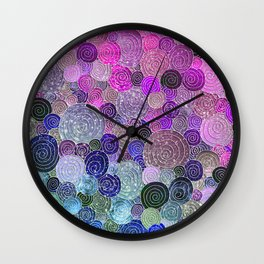 Abstract blue& purple glamour glitter circles and dots for Girls and ladies Wall Clock