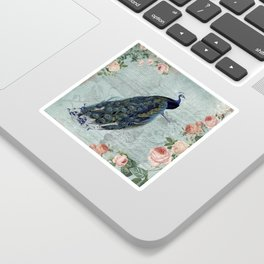 Vintage Victorian Peacock Bird and Roses Illustration Sticker