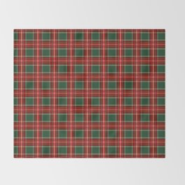 Christmas Plaid Pattern in Red and Green Throw Blanket