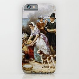 Jean Leon Gerome Ferris - The First Thanksgiving, 1621 iPhone Case