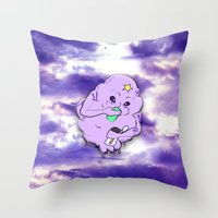 lumpy space princess Throw Pillows featuring Meanwhile in Lumpy Space by Oceanic Inks
