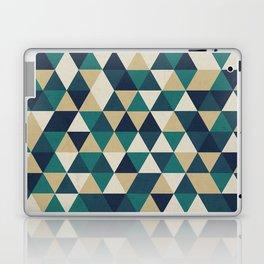 Foggy Petrol and Blue - Hipster Geometric Triangle Pattern Laptop & iPad Skin