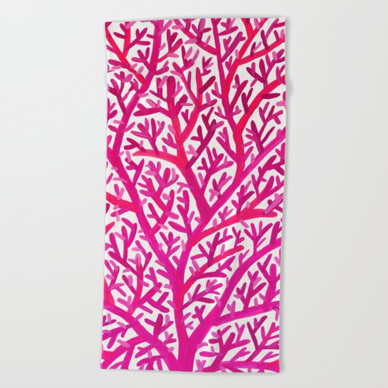 Fan Coral – Pink Ombré Beach Towel
