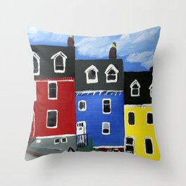 Newfoundland Houses Canada acrylics on canvas Throw Pillow