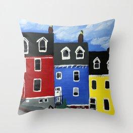 Newfoundland Houses Canada acrylics on canvas Throw Pillow