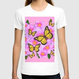 PINK ON PINK ROSES MONARCH BUTTERFLIES T-shirt