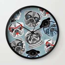 Pug Pattern Wall Clock