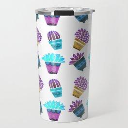 Hand painted teal purple watercolor summer cactus floral Travel Mug