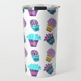 Hand painted teal purple watercolor summer cactus floral Travel Mug