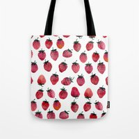 strawberry Tote Bags featuring Strawberry by Tanya_Vazh