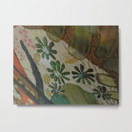 Green daisies on burlap Metal Print
