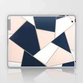 Navy Blue Blush White Gold Geometric Glam #1 #geo #decor #art #society6 Laptop & iPad Skin