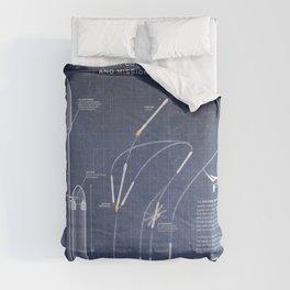 SpaceX Falcon Heavy Spacecraft NASA Rocket Blueprint in High Resolution (dark blue) Comforters