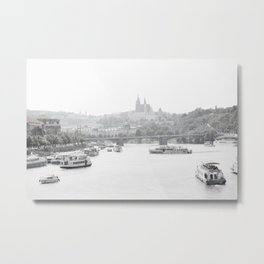 Prague in black and white Metal Print