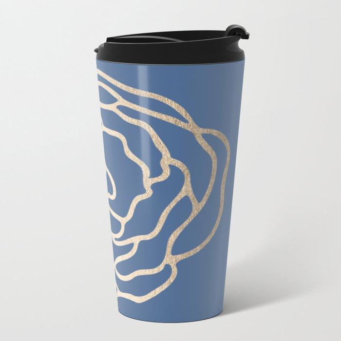 Flower in White Gold Sands on Aegean Blue Metal Travel Mug