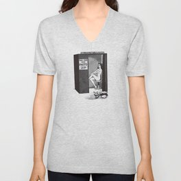 Nude woman in photo booth Unisex V-Neck