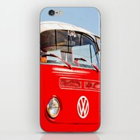 vw bus iPhone & iPod Skins featuring Red VW Bus Bold Print by Eye Shutter to Think Photography