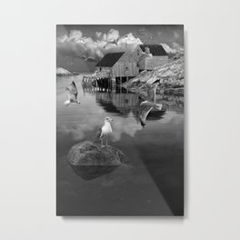Black and White of Fisherman's Wharf at Peggy's Cove with Flock of Gulls Metal Print