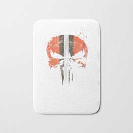 Football Helmet Skull Orange Brown & White T-Shirt Bath Mat