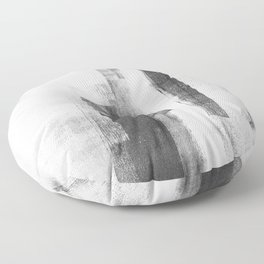 """Black and White Minimalist Geometric Abstract Painting """"Structure 3"""" Floor Pillow"""