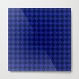 Cobalt Blue and Black Houndstooth Check Pattern Metal Print