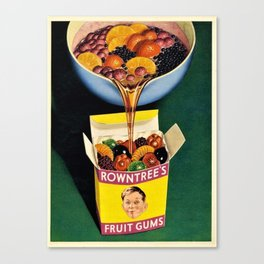 Vintage 1952 Rowntrees Fruit Gums Candy Wall Art Advertising Canvas Print