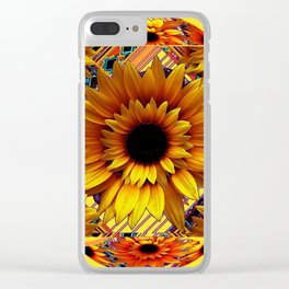 AWESOME GOLDEN SUNFLOWERS  PATTERN ART Clear iPhone Case