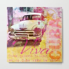 Viva Cuba retro car mixed media art Metal Print