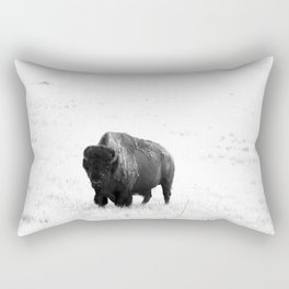 A Bison - Monochrome Rectangular Pillow