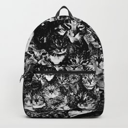 cat collage our beloved kitten cats watercolor splatters black white Backpack