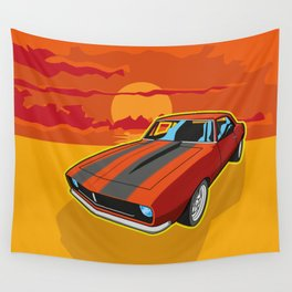 Red Camaro at Sunset Wall Tapestry