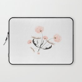 Sweet dandelions in pink - Floral Watercolor illustration with Glitter Laptop Sleeve