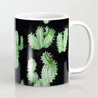 beard Mugs featuring Cactus Beard Dude by David Penela