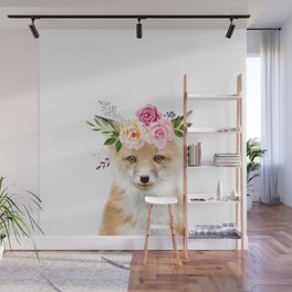 Baby Fox with Flower Crown Wall Mural