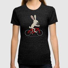 Bunny riding bike Tri-Black MEDIUM Womens Fitted Tee