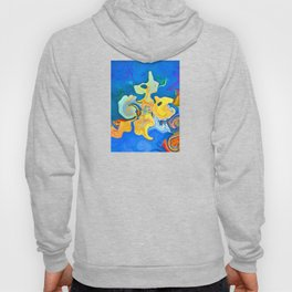 Conceptual abstract mixed swirl shape red, yellow, orange and teal colors on a deep blue background  Hoody