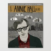 annie hall Canvas Prints featuring Annie Hall Movie Poster/ Woody Allen by Armineh Moghadasi