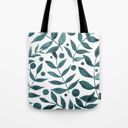 Watercolor berries and branches - teal grey Tote Bag