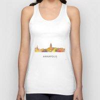 maryland Tank Tops featuring Annapolis, Maryland Skyline BG by Marlene Watson