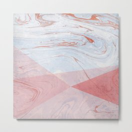 Strawberry and Cream Marble Metal Print