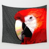 parrot Wall Tapestries featuring Parrot by Whimsy Notions Designs