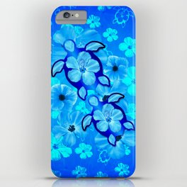Tropical Hibiscus Flowers And Honu Turtles iPhone Case