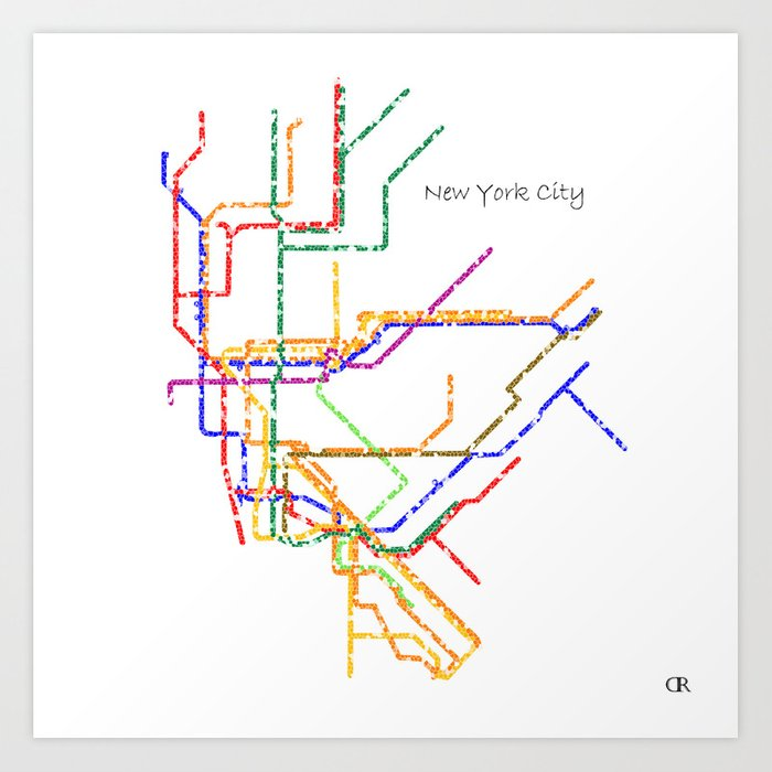 Custom Art Nyc Subway Map.New York City Subway Map Art Art Print By Mayamoussallieh