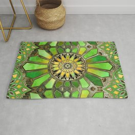 Stained Glass in Green and Gold - customer request Rug