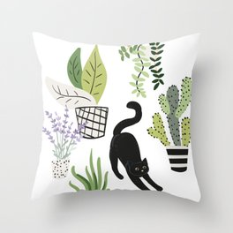 Black cat and plants in the pots. Morning stretch Throw Pillow