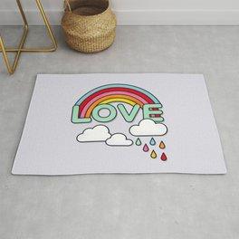 Rainbow Love Typography Rug