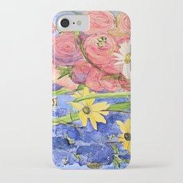 Cottage Garden Delphinium and Hollyhocks Watercolor iPhone Case
